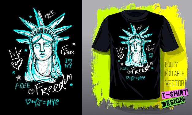 Trendy t-shirt sjabloon, mode t-shirtontwerp, helder, zomer, coole slogan belettering. kleur potlood, marker, inkt, pen doodles schets stijl. hand getekende illustratie