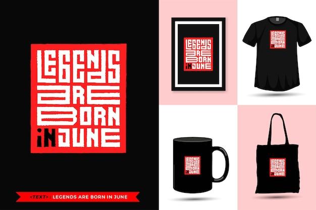 Trendy typografie offerte motivatie tshirt legends zijn geboren in januari om af te drukken. verticale typografie sjabloon voor koopwaar