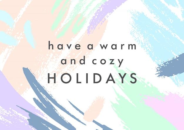 Trendy vakantie poster met handgetekende vormen en texturen in zachte pastelkleuren.uniek grafisch ontwerp