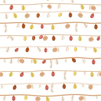 Trendy van retro ketting met gouden ketting en parel, zomerschelp, sieraden decoratie naadloos patroon in vector horizontale streep ontwerp voor mode, stof, web, verpakking, behang en alle prints