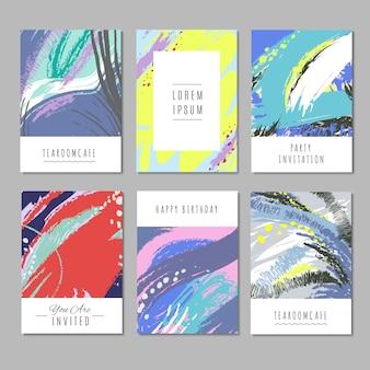 Trendy vectorachtergronden met hand getrokken texturen en abstracte vormen. mode decorcollectie