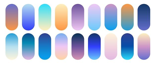 Trendy verloopcollectie. afgeronde kleurrijke knoppen set.