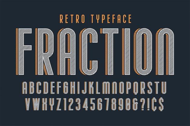 Trendy vintage display lettertype, alfabet, lettertype