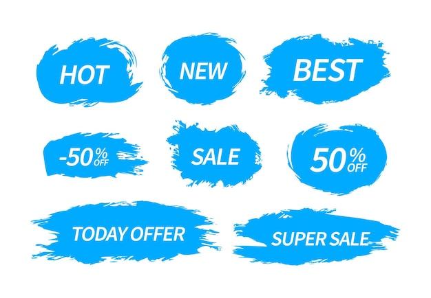 Trendy vlekken vlekken van label label. verkoopprijs promotie korting sticker banner. vectorconceptelementen voor gebruik in reclameontwerp.