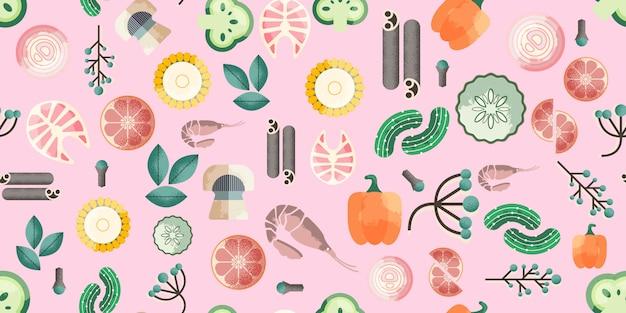 Trendy voedsel naadloos patroon