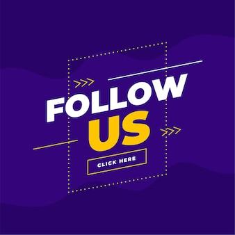 Trendy volg ons-sjabloon voor spandoek in paars