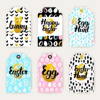 Trendy vrolijke paasgeschenketiketten. vectorillustratie van 80s style shop tag design met handgeschreven letters.