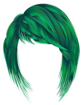 Trendy vrouw haren groene kleuren. kare met pony. gemiddelde lengte. mode schoonheid stijl.