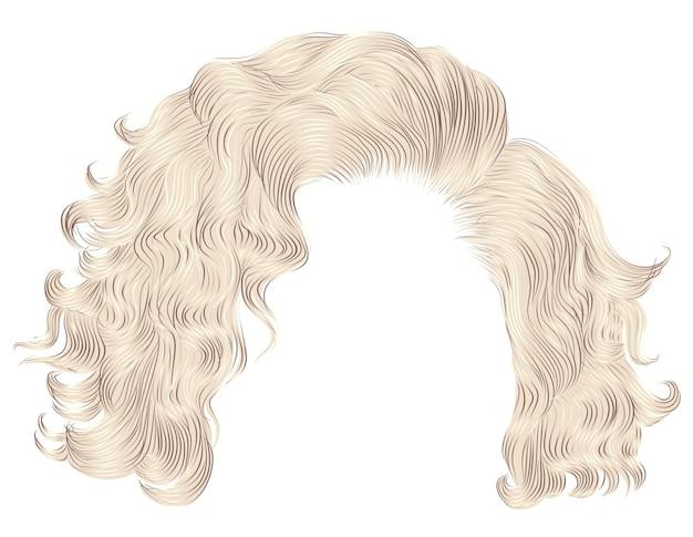 Trendy vrouw krullende haren blonde kleuren. pony. realistische 3d.