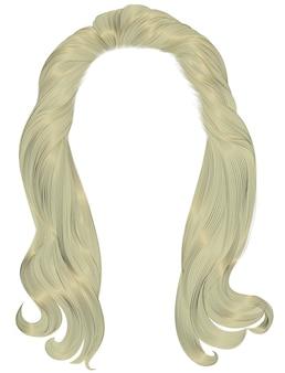 Trendy vrouw lange haren blonde kleuren. schoonheid mode. realistische afbeelding