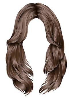 Trendy vrouw lange haren bruine kleuren. schoonheid mode. realistische afbeeldingen