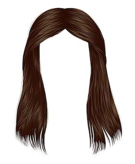 Trendy vrouw lange haren brunette bruin brunette kleuren. schoonheid mode. realistische afbeelding