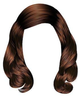 Trendy vrouw lange haren brunette bruin brunette kleuren. schoonheid mode. realistische grafische .retro.children's kapsel