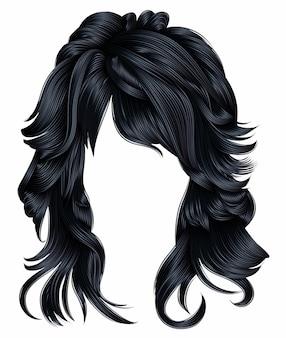 Trendy vrouw lange haren brunette donkerbruine kleuren. schoonheid mode. realistisch