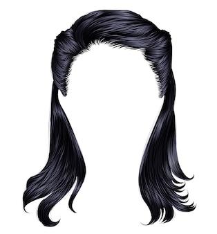 Trendy vrouw lange haren donkerbruine zwarte kleuren. schoonheid mode. realistische grafische .retro