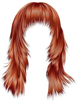 Trendy vrouw lange haren rood koper kleuren. schoonheid mode. realistisch