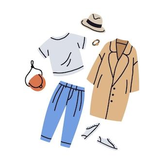 Trendy vrouwelijke kleding casual outfit cartoon vectorillustratie