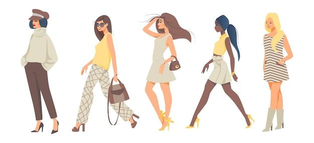 Trendy vrouwen. stijlvolle meisjes stripfiguren dragen stijlvolle casual en hipster mode kleding. vectorillustratieinzameling van diverse modellen met handtas in tendens op wit