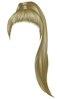 Trendy vrouwenharen blonde kleur. hoge staart. mode schoonheid stijl.