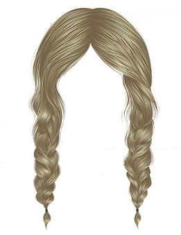 Trendy vrouwenharen blonde kleur. twee vlechten. mode schoonheid stijl.