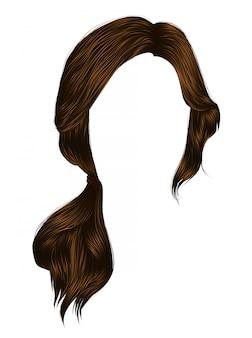Trendy vrouwenharen donkerbruine bruine kleur .staart. mode schoonheid stijl.