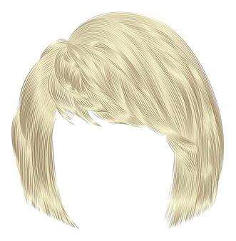 Trendy vrouwenharen kare met franje. lichtblonde kleuren. gemiddelde lengte. schoonheid stijl. realistische 3d.