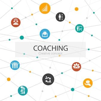 Trendy websjabloon coachen met eenvoudige pictogrammen. bevat elementen als ondersteuning, mentor, vaardigheden, training