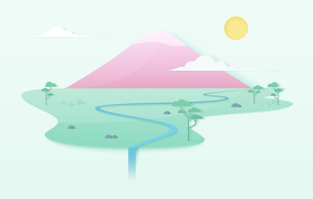 Trendy zachte kleurovergang schone wereld illustratie concept met bergen, rivier, bomen en waterval. japanse stijl roze berg op eiland sjabloon poster