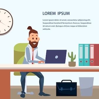 Trendy zakenmanwerk door laptop op kantoorgebied