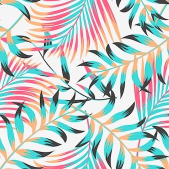 Trendy zomer tropische naadloze patroon met bladeren en planten op pastel achtergrond