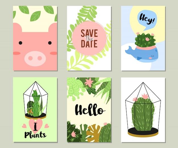Trendy zomer tropische of florale banner set