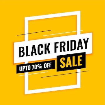 Trendy zwarte vrijdag verkoop banner op geel