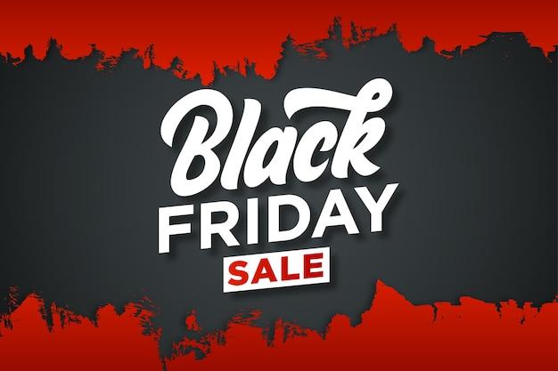 Trendy zwarte vrijdagsticker met drakachtergrond en rode grunge
