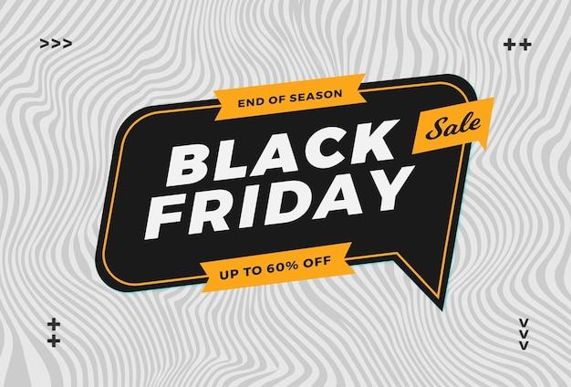 Trendy zwarte vrijdagverkoop met abstracte golfachtergrond voor online flayer en bannerpromotiemarkt