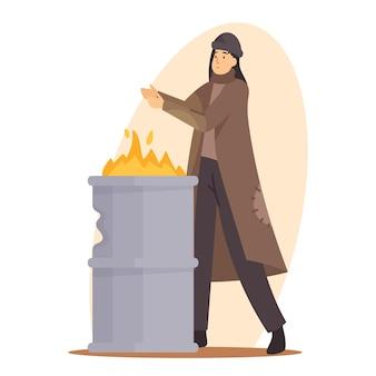 Treurige vrouw bedelaar verwarmende hand op vuur brandend in metalen vat, vrouwelijk personage met haveloze kleding die op straat leeft