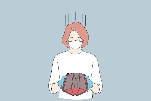 Treurige vrouw in beschermende latexhandschoenen en medisch gezichtsmasker