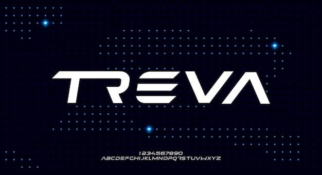 Treva, een gewaagd modern schreefloos lettertype alfabet lettertype.