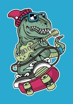 Trex skateboard illustratie in de hand getekend