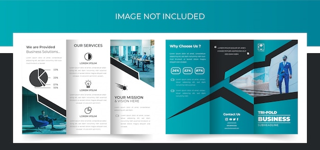 Tri-fold brochure, business driebladig brochureontwerp, corporate driebladige brochure premium