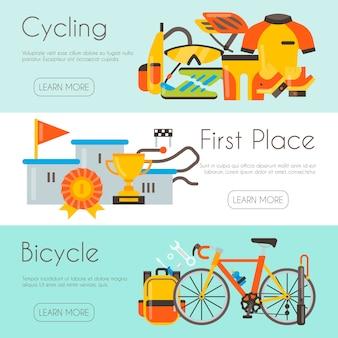 Triathlon webpagina sjabloon wielerwedstrijd race. fietsuniform, podium voor kampioen en fietsreparatie. banner, site en poster sjabloon met plaats voor uw tekst.