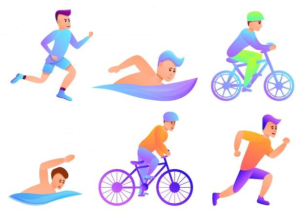 Triatlon set, cartoon stijl