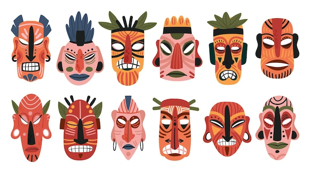 Tribal afrikaanse houten totem masker set tiki masker inboorling gezicht houten etnische sculptuur