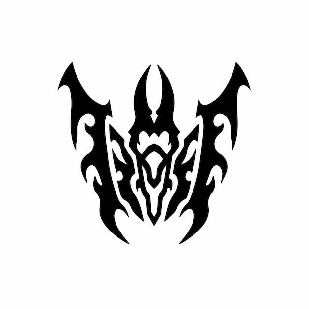 Tribal bat logo tattoo design stencil vectorillustratie Premium Vector