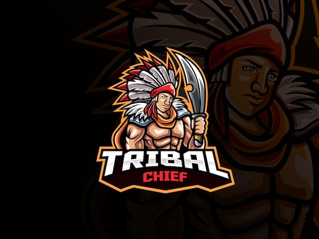 Tribal chief mascotte esport-logo. tribal krijger mascotte logo. stamhoofdmascotte met wapen, voor esports-team.