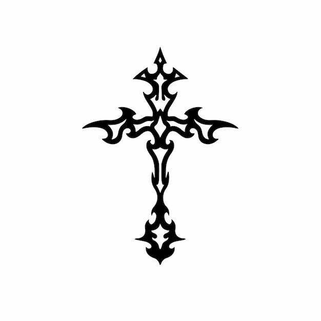 Tribal christian cross logo tattoo design stencil vectorillustratie