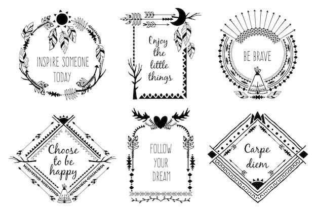 Tribal design frames met tekst. elementdecoratie, gewei en veer. vector illustratie