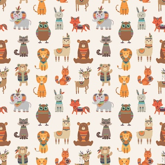 Tribal dieren naadloos patroon. etnische stijl dieren textuur