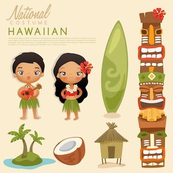 Tribal hawaiiaanse traditionele kostuums.