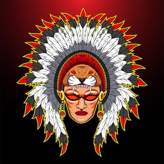 Tribal hoofd mascotte logo