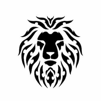 Tribal leeuwenkop logo tattoo design stencil vectorillustratie